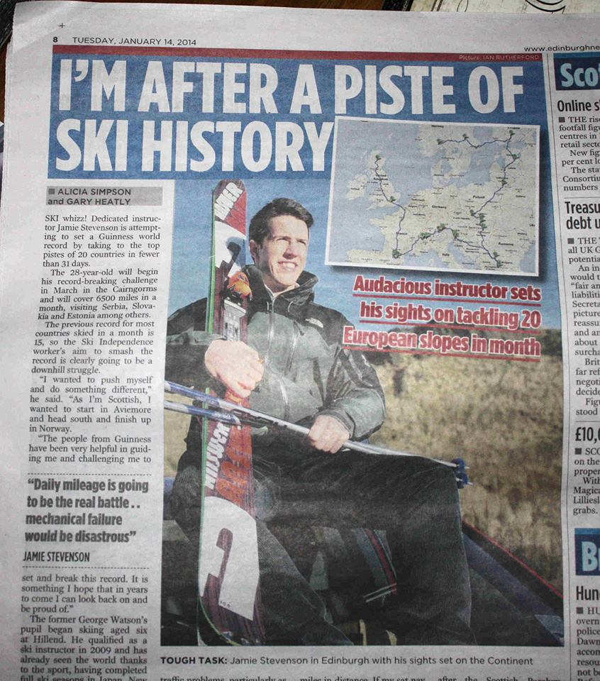 Ski World Record newspaper article