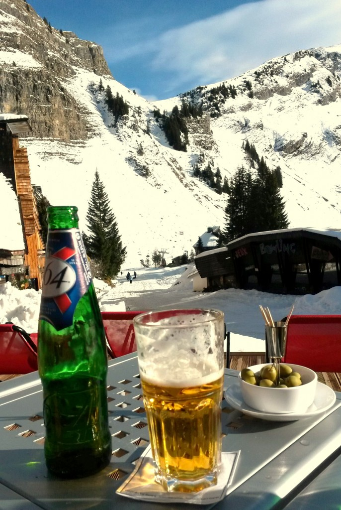 Cold Beer at the Hotel des Dromonts in Avoriaz