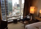 Vikki enjoying the Fairmont Gold service