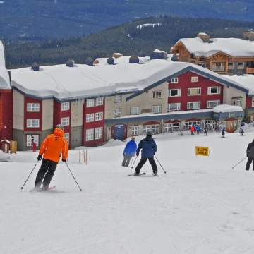 Exterior with Skiers